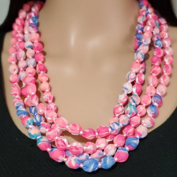Lilly Pulitzer Pink & Blue Fabric Bead Necklace